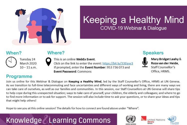 Keeping a Healthy Mind - COVID-19 Webinar & Dialogue
